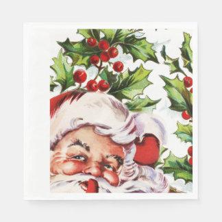 Vintage Stechpalme Weihnachtsmanns elegant Serviette