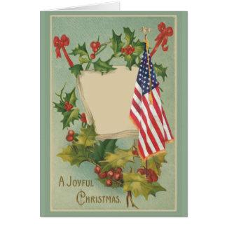 Vintage Stechpalmen-Beeren-amerikanische Flagge Karte