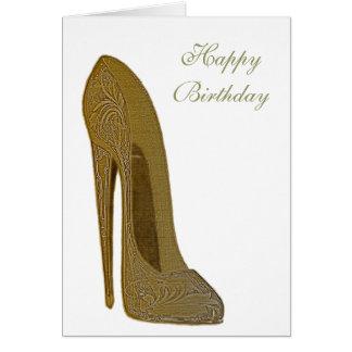 Vintage Stilett-hohe Fersen-Schuh-Kunst-Geschenke Grußkarte