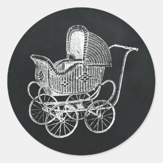 Vintage Tafel-Kinderwagen-Baby-Dusche Runder Aufkleber