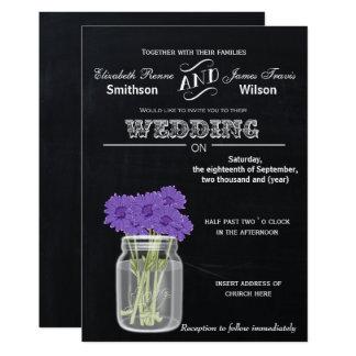 Vintage Tafel-Maurer-Glasblumenhochzeit laden ein 12,7 X 17,8 Cm Einladungskarte