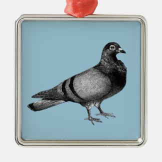 Vintage Taubengeschenke Quadratisches Silberfarbenes Ornament