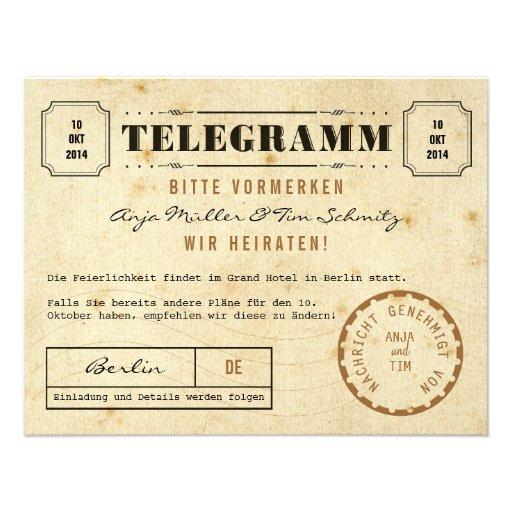 Vintage Telegramm Save the Date Cartons D'invitation Personnalisés