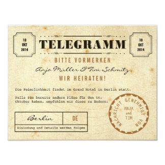 Vintage télégramme save date the carton d'invitation 10,79 cm x 13,97 cm