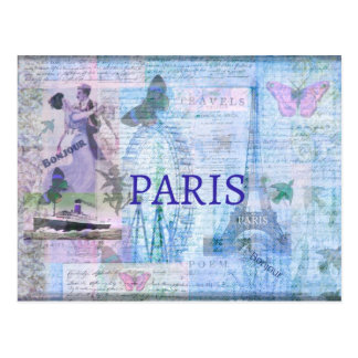 Vintage themed Grafik PARIS mit Eiffel-Turm Postkarte