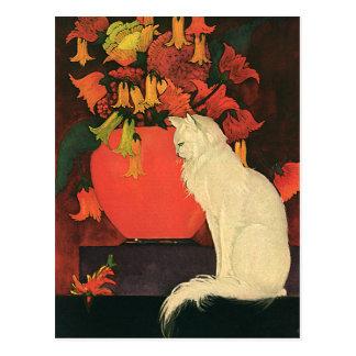 Vintage Tiere, elegante weiße Katze, Herbst-Blumen Postkarte