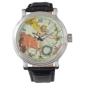 Vintage Tierkreis-Astrologie-Schütze-Konstellation Armbanduhr