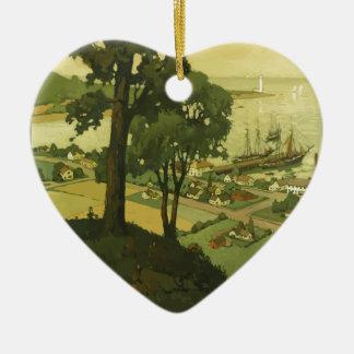 Vintage-Travel-Poster-New-England-USA-2 Keramik Herz-Ornament