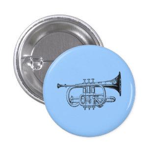 Vintage Trompete-hölzerner Stich Runder Button 2,5 Cm