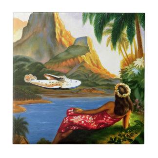 Vintage tropische hawaiische SeeFlugzeug-Palme Keramikfliese