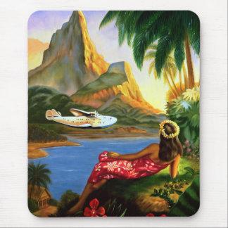 Vintage tropische hawaiische SeeFlugzeug-Palme Mauspads