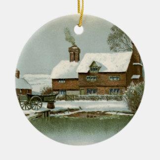 Vintage Tudor Land-Hütte Rundes Keramik Ornament