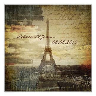 Vintage Turm-Hochzeit Skripte Paris Eiffel Kunstfotos