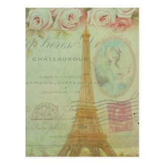 Vintage Turm-Rosen-Franzosen Paris Eiffel Postkarte