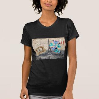 Vintage Turm-Schmetterlingsmode Paris Effiel T-Shirt
