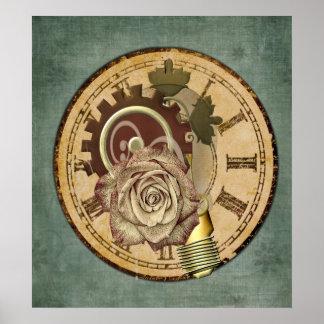 Vintage Uhr-Collage Poster