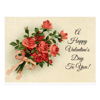 Vintage Valentine-Rosen Postkarte
