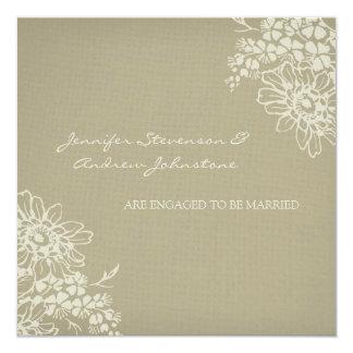 Vintage Verlobungs-Mitteilungs-mit Blumenkarten Quadratische 13,3 Cm Einladungskarte