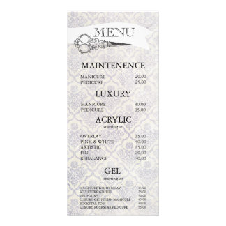 Vintage verzierte Schere-Haar-Salon-Menü-Karten Individuelle Werbe Karte