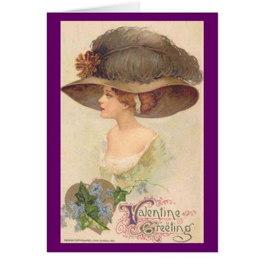 Vintage viktorianische Dame in HutValentine Grußkarte
