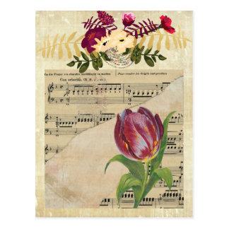 Vintage viktorianische Musik-Romance Postkarte