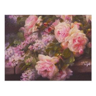 Vintage viktorianische rosa Rosen und Postkarte