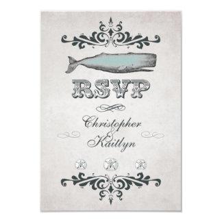 Vintage viktorianische Strand-Wal-Hochzeit UAWG 8,9 X 12,7 Cm Einladungskarte