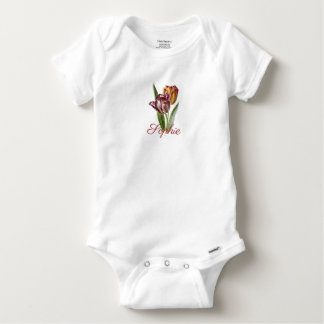 Vintage/viktorianische Tulpe-Blumen Personnalised Baby Strampler