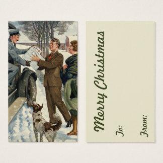 Vintage viktorianische Weihnachtsmailman-Lieferung Visitenkarte