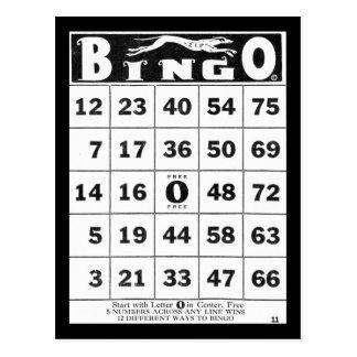 Vintage Vintage Bingo-Karte der Eintagsfliege-| Postkarte