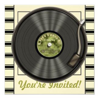 Vintage Vinylaufzeichnungs-Party Einladungen