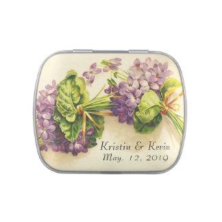 Vintage violette Hochzeits-Empfangs-Bevorzugungen Vorratsdose