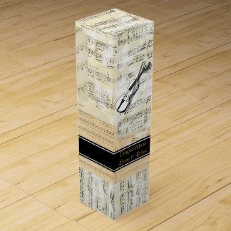 Vintage Violinen-Musik-personalisierte Wein-Geschenkverpackung