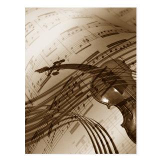 Vintage Violinen-und Blatt-Musik Postkarte