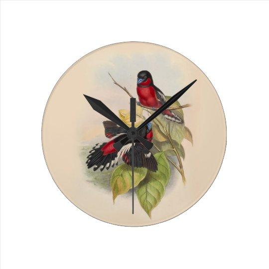 Vintage Vögel 002 Runde Wanduhr