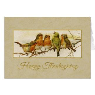 Vintage Vögel des glücklichen Erntedanks Karte