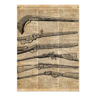 Vintage Waffen-antike Gewehr-Wörterbuch-Kunst 12,7 X 17,8 Cm Einladungskarte