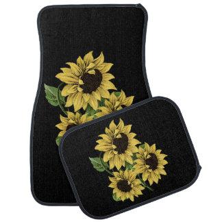 Vintage Watercolor-Sonnenblume-Auto-Boden-Matten Automatte