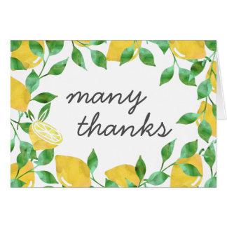 Vintage Watercolor-Zitronen danken Ihnen Karten
