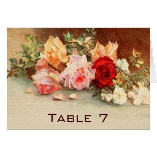 Vintage Wedding Tischnummer-antike Rosen-Blumen Karte