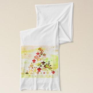 Vintage Weihnachtsbaumwatercolor-Verzierungen Schal