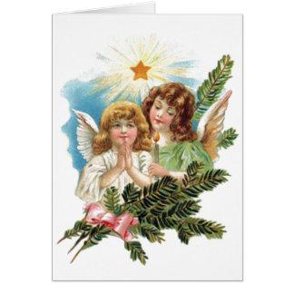 Vintage Weihnachtsengel Grußkarte