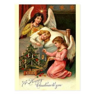 Vintage Weihnachtsengel Postkarte