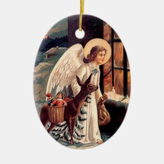 Vintage Weihnachtsengels-Oval-Verzierung Ovales Keramik Ornament