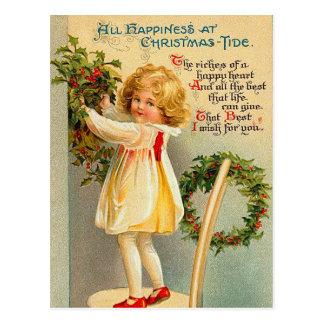 Vintage Weihnachtsgezeiten-Postkarte Postkarte