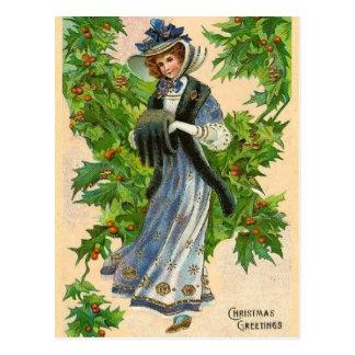 Vintage Weihnachtsgrüße Postkarte