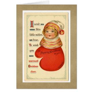 Vintage Weihnachtshandschuh-Mädchen-Gruß-Karte Karte