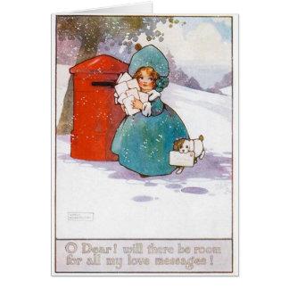 Vintage Weihnachtskarte, Anfang des 19. Grußkarte