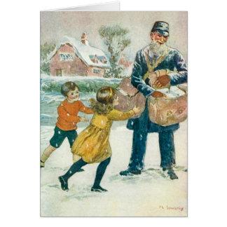 Vintage Weihnachtskarte, -briefträger u. -kinder, Karte