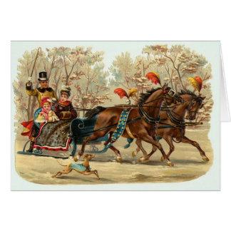 Vintage Weihnachtskarte mit Sleigh, fertigen es Karte